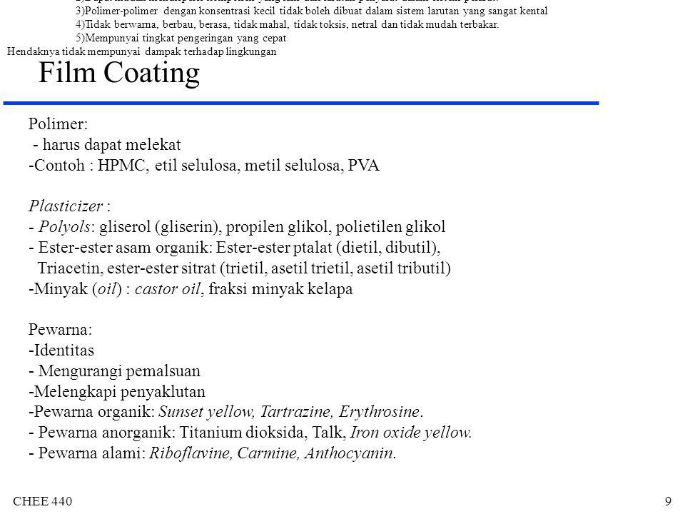 CHEE 44010 Film Coating Opacifyer: titanium dioksida, silikat (talk, aluminium silikat), karbonat (magnesim karbonat), sulfat, oksida dan hidroksida Pelarut: Dapat melarutkan atau mendispersikan sistem polimer.