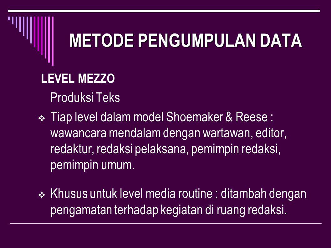 METODE PENGUMPULAN DATA METODE PENGUMPULAN DATA LEVEL MEZZO Produksi Teks  Tiap level dalam model Shoemaker & Reese : wawancara mendalam dengan warta