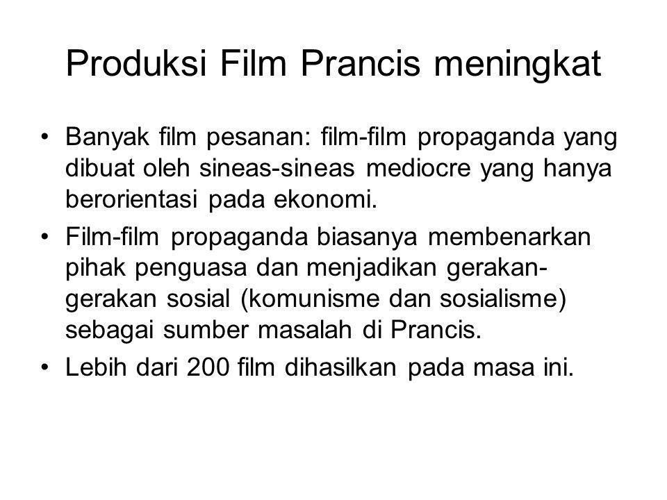 Produksi Film Prancis meningkat •Banyak film pesanan: film-film propaganda yang dibuat oleh sineas-sineas mediocre yang hanya berorientasi pada ekonom