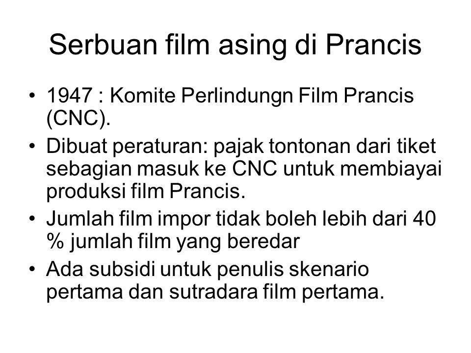 Serbuan film asing di Prancis •1947 : Komite Perlindungn Film Prancis (CNC). •Dibuat peraturan: pajak tontonan dari tiket sebagian masuk ke CNC untuk