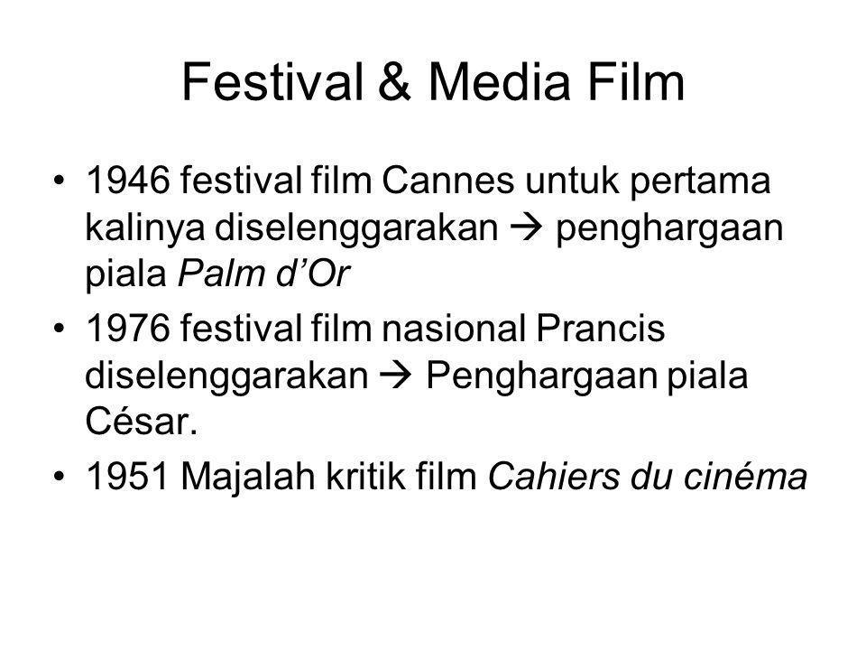 Festival & Media Film •1946 festival film Cannes untuk pertama kalinya diselenggarakan  penghargaan piala Palm d'Or •1976 festival film nasional Pran