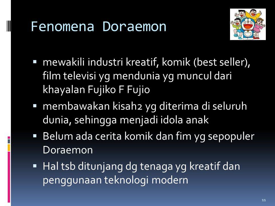 Fenomena Doraemon  mewakili industri kreatif, komik (best seller), film televisi yg mendunia yg muncul dari khayalan Fujiko F Fujio  membawakan kisah2 yg diterima di seluruh dunia, sehingga menjadi idola anak  Belum ada cerita komik dan fim yg sepopuler Doraemon  Hal tsb ditunjang dg tenaga yg kreatif dan penggunaan teknologi modern 11