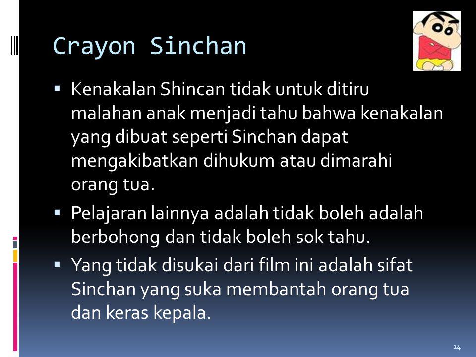 Crayon Sinchan  Kenakalan Shincan tidak untuk ditiru malahan anak menjadi tahu bahwa kenakalan yang dibuat seperti Sinchan dapat mengakibatkan dihukum atau dimarahi orang tua.