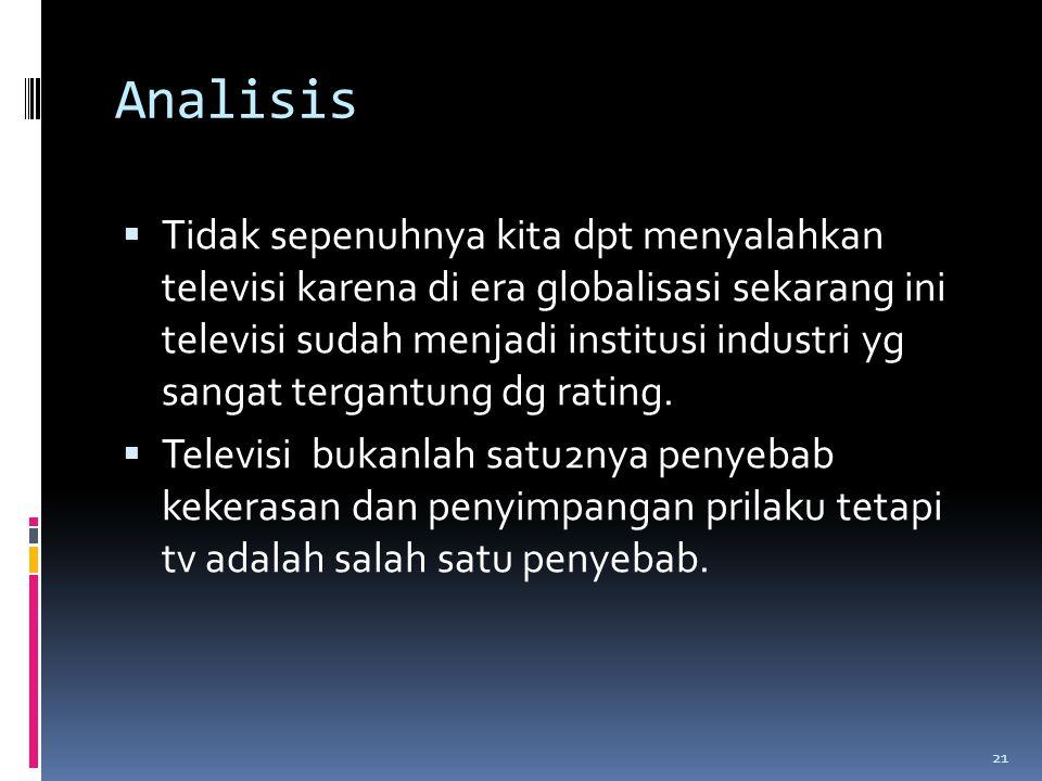 Analisis  Tidak sepenuhnya kita dpt menyalahkan televisi karena di era globalisasi sekarang ini televisi sudah menjadi institusi industri yg sangat tergantung dg rating.