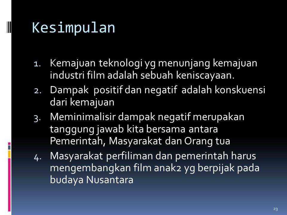 Kesimpulan 1. Kemajuan teknologi yg menunjang kemajuan industri film adalah sebuah keniscayaan.