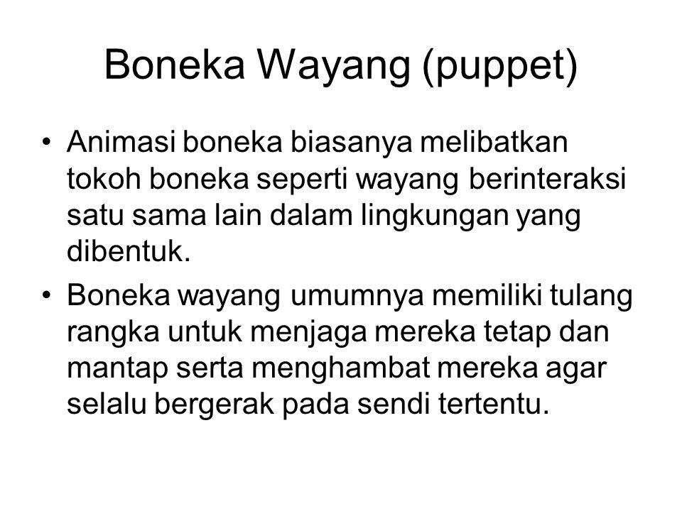 Boneka Wayang (puppet) •Animasi boneka biasanya melibatkan tokoh boneka seperti wayang berinteraksi satu sama lain dalam lingkungan yang dibentuk. •Bo