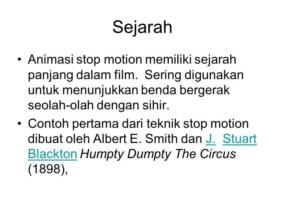 Sejarah •Animasi stop motion memiliki sejarah panjang dalam film. Sering digunakan untuk menunjukkan benda bergerak seolah-olah dengan sihir. •Contoh