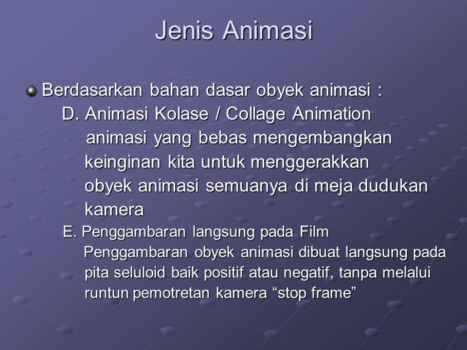 Jenis Animasi Berdasarkan bahan dasar obyek animasi : D. Animasi Kolase / Collage Animation D. Animasi Kolase / Collage Animation animasi yang bebas m