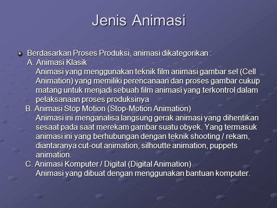 Jenis Animasi Berdasarkan Proses Produksi, animasi dikategorikan : A. Animasi Klasik Animasi yang menggunakan teknik film animasi gambar sel (Cell Ani