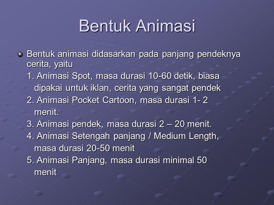 Bentuk Animasi Bentuk animasi didasarkan pada panjang pendeknya cerita, yaitu 1. Animasi Spot, masa durasi 10-60 detik, biasa dipakai untuk iklan, cer