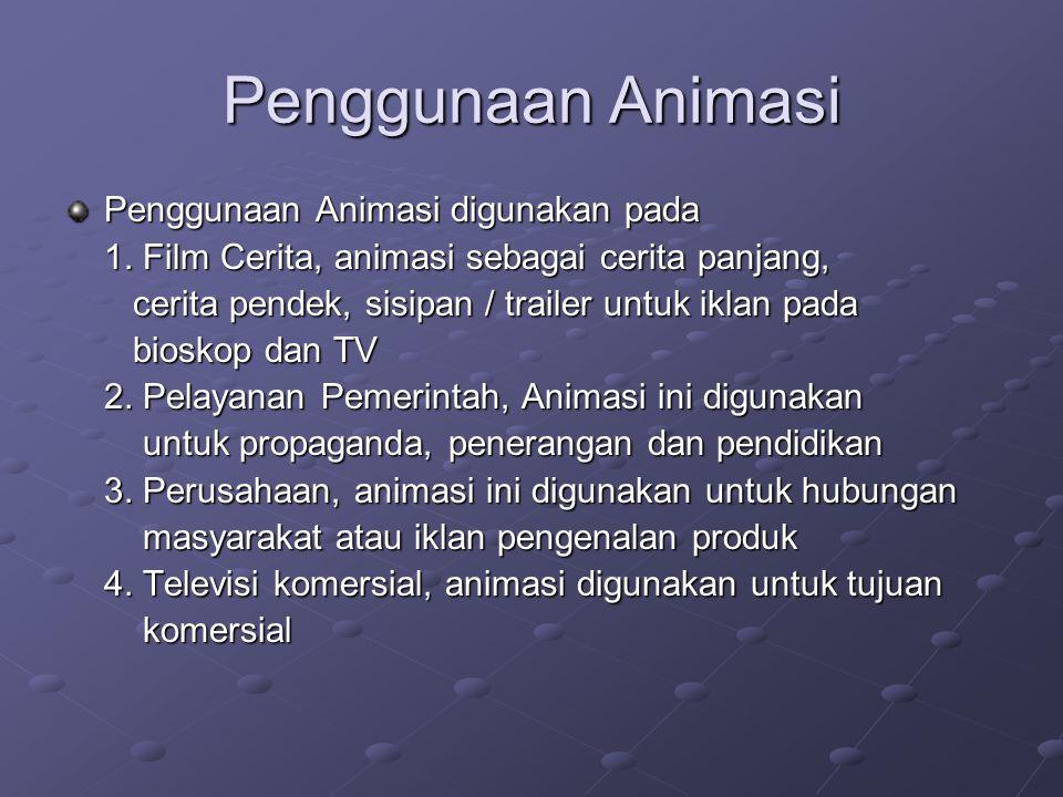 Penggunaan Animasi Penggunaan Animasi digunakan pada 1. Film Cerita, animasi sebagai cerita panjang, cerita pendek, sisipan / trailer untuk iklan pada