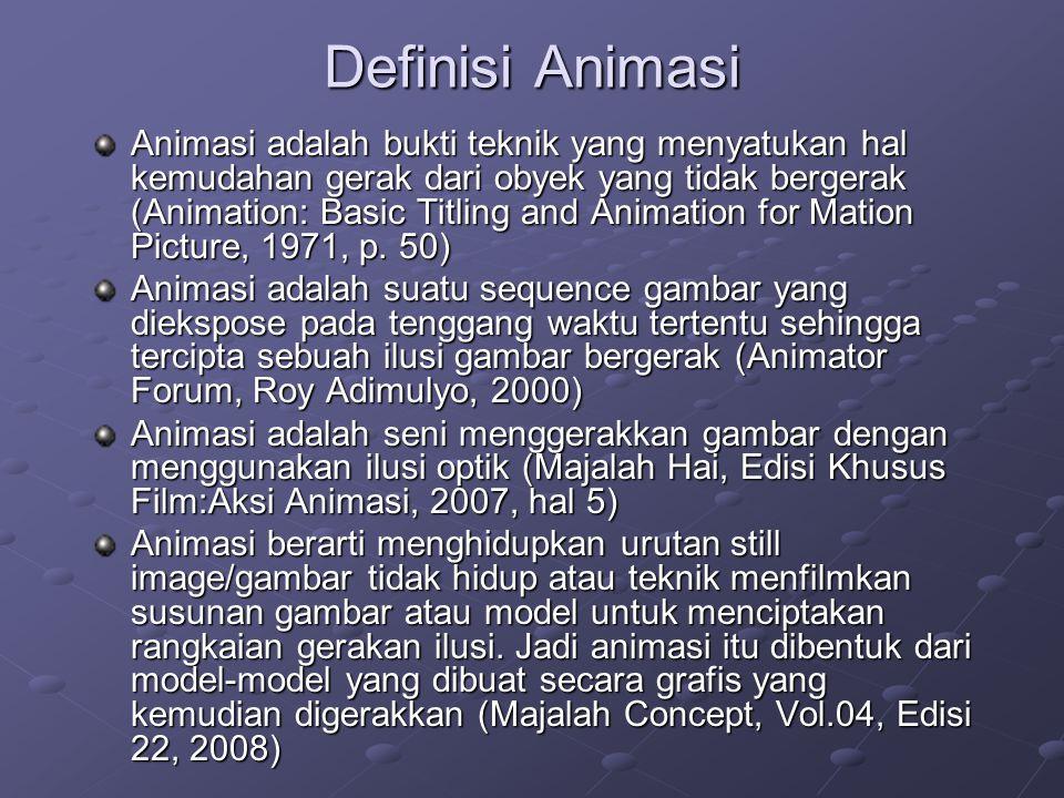 Definisi Animasi Animasi adalah bukti teknik yang menyatukan hal kemudahan gerak dari obyek yang tidak bergerak (Animation: Basic Titling and Animatio