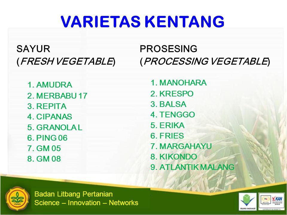 VARIETAS KENTANG SAYUR (FRESH VEGETABLE) 1. AMUDRA 2. MERBABU 17 3. REPITA 4. CIPANAS 5. GRANOLA L 6. PING 06 7. GM 05 8. GM 08 PROSESING (PROCESSING