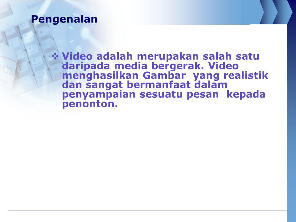 Pengenalan  Video juga berupaya membawa masuk peristiwa yang terjadi  Video berupaya merakam gambar dekat dan jauh.