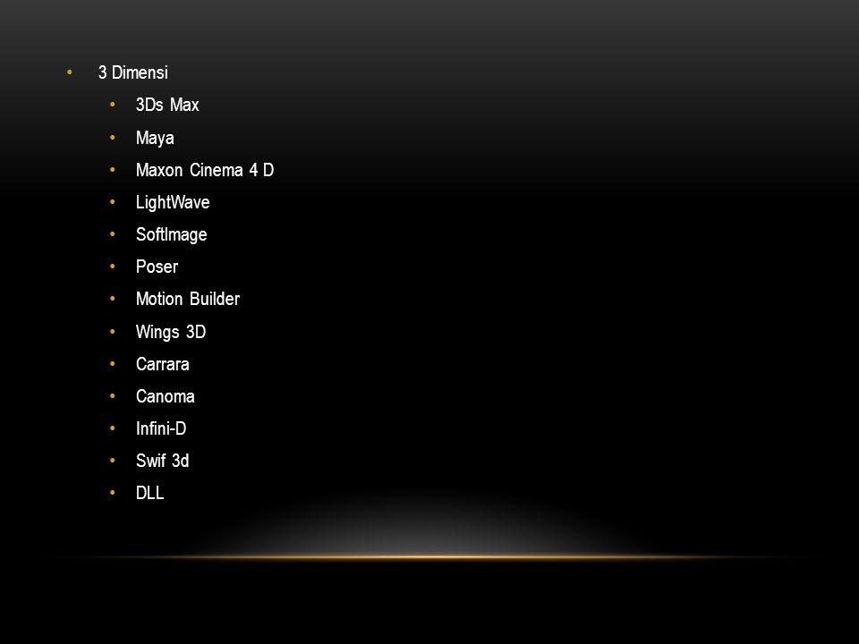 • 3 Dimensi • 3Ds Max • Maya • Maxon Cinema 4 D • LightWave • Softlmage • Poser • Motion Builder • Wings 3D • Carrara • Canoma • Infini-D • Swif 3d • DLL