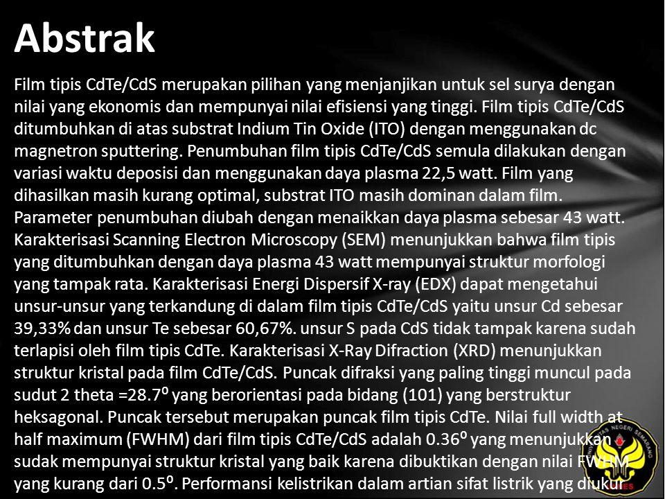 Abstrak Film tipis CdTe/CdS merupakan pilihan yang menjanjikan untuk sel surya dengan nilai yang ekonomis dan mempunyai nilai efisiensi yang tinggi.