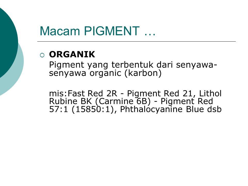 Macam PIGMENT …  ORGANIK Pigment yang terbentuk dari senyawa- senyawa organic (karbon) mis:Fast Red 2R - Pigment Red 21, Lithol Rubine BK (Carmine 6B) - Pigment Red 57:1 (15850:1), Phthalocyanine Blue dsb