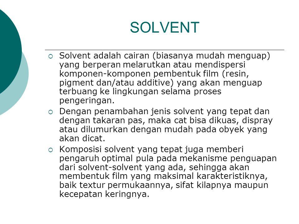 SOLVENT  Solvent adalah cairan (biasanya mudah menguap) yang berperan melarutkan atau mendispersi komponen-komponen pembentuk film (resin, pigment dan/atau additive) yang akan menguap terbuang ke lingkungan selama proses pengeringan.