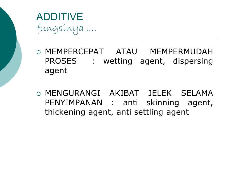 ADDITIVE fungsinya ….  MEMPERCEPAT ATAU MEMPERMUDAH PROSES : wetting agent, dispersing agent  MENGURANGI AKIBAT JELEK SELAMA PENYIMPANAN : anti skin