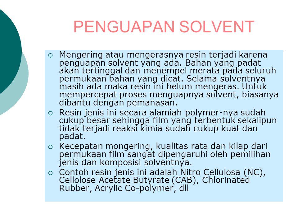 PENGUAPAN SOLVENT  Mengering atau mengerasnya resin terjadi karena penguapan solvent yang ada. Bahan yang padat akan tertinggal dan menempel merata p
