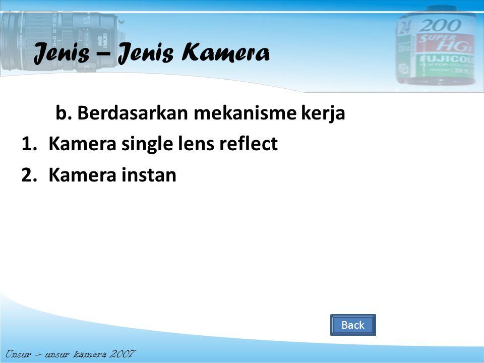 a. Berdasarkan media penangkap a cahaya 1.Kamera Film 2.Kamera Polaroid 3.Kamera Digital Unsur – unsur kamera 2007 Jenis – Jenis Kamera Back