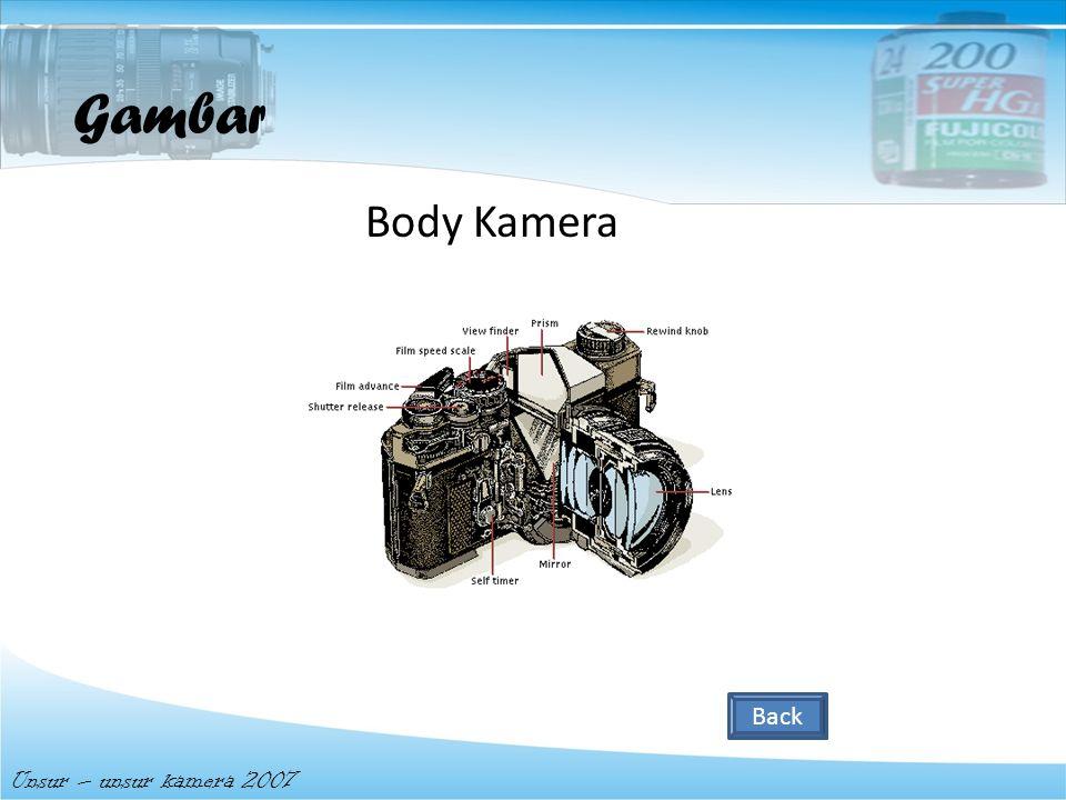 Body kamera merupakan suatu komponen yang dimana berfungsi sebagai ruang gelap, dimana cahaya atau gambar ditranmisikan permukaan film Body kamera Uns