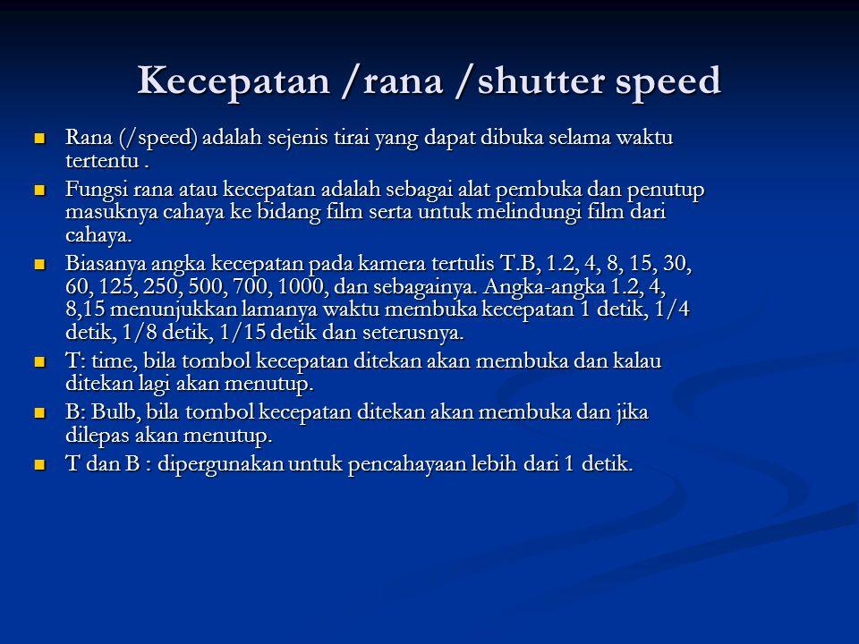 Kecepatan /rana /shutter speed  Rana (/speed) adalah sejenis tirai yang dapat dibuka selama waktu tertentu.