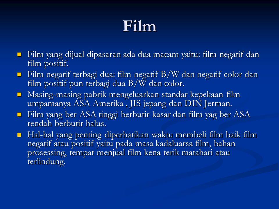 Film  Film yang dijual dipasaran ada dua macam yaitu: film negatif dan film positif.