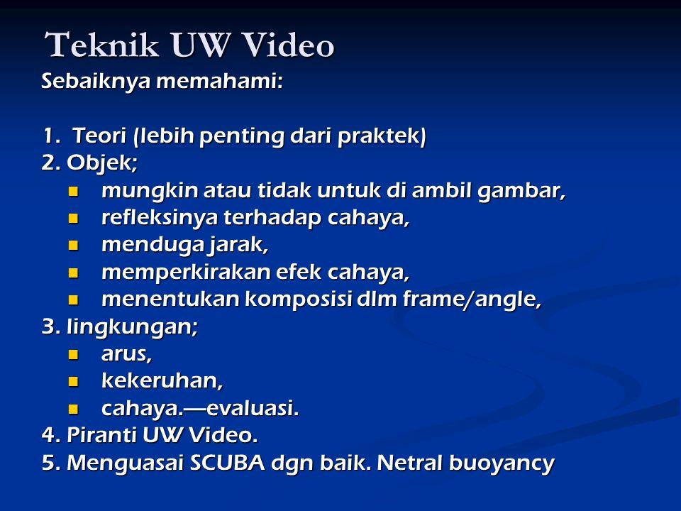 Teknik UW Video Sebaiknya memahami: 1.Teori (lebih penting dari praktek) 2.
