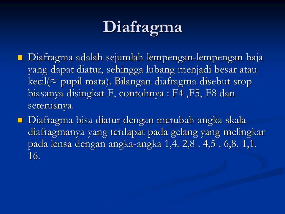 Diafragma  Diafragma adalah sejumlah lempengan-lempengan baja yang dapat diatur, sehingga lubang menjadi besar atau kecil(≈ pupil mata).