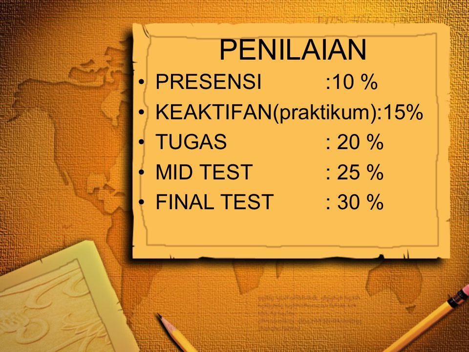 PENILAIAN •PRESENSI:10 % •KEAKTIFAN(praktikum):15% •TUGAS: 20 % •MID TEST: 25 % •FINAL TEST: 30 %
