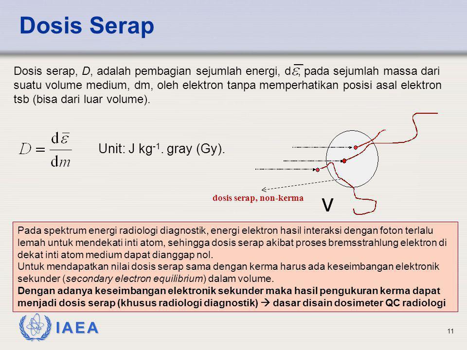 IAEA 11 Dosis Serap Dosis serap, D, adalah pembagian sejumlah energi, d, pada sejumlah massa dari suatu volume medium, dm, oleh elektron tanpa memperh