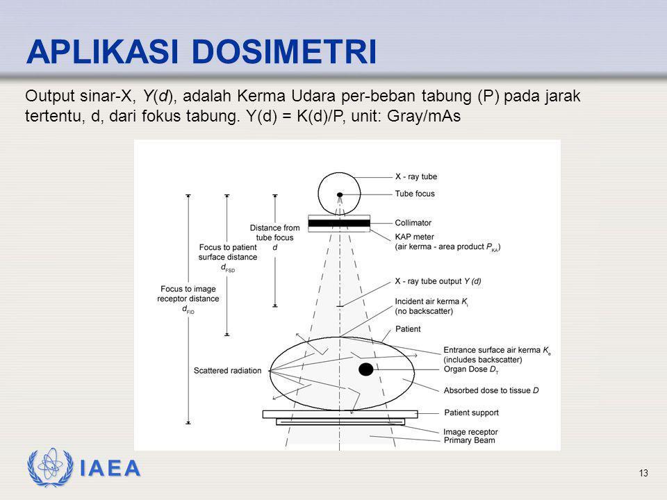 IAEA 13 APLIKASI DOSIMETRI Output sinar-X, Y(d), adalah Kerma Udara per-beban tabung (P) pada jarak tertentu, d, dari fokus tabung. Y(d) = K(d)/P, uni