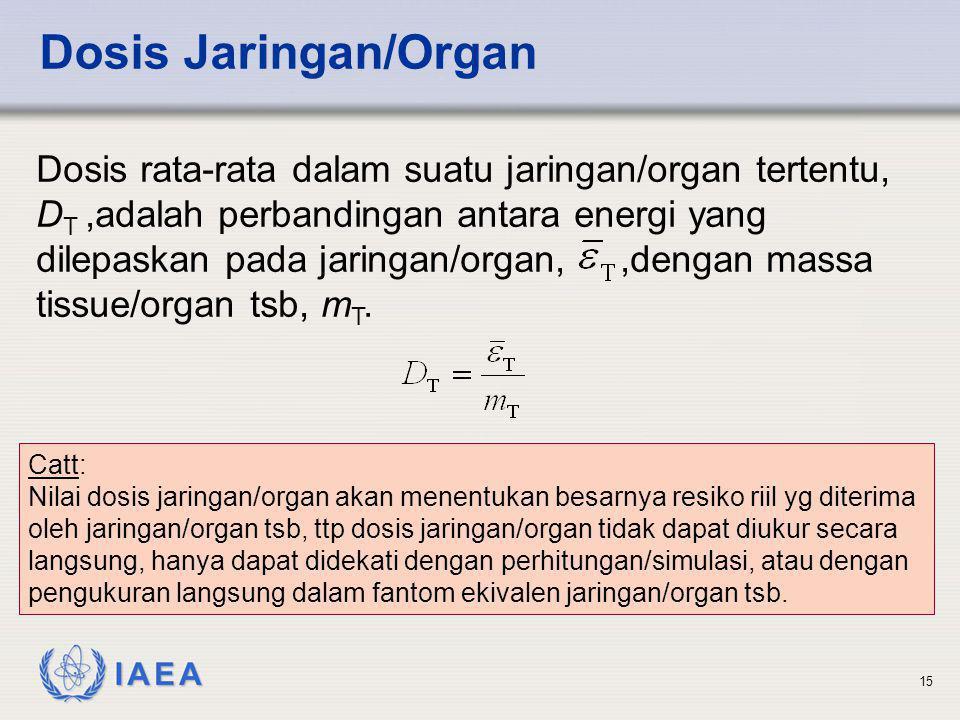 IAEA 15 Dosis Jaringan/Organ Dosis rata-rata dalam suatu jaringan/organ tertentu, D T,adalah perbandingan antara energi yang dilepaskan pada jaringan/