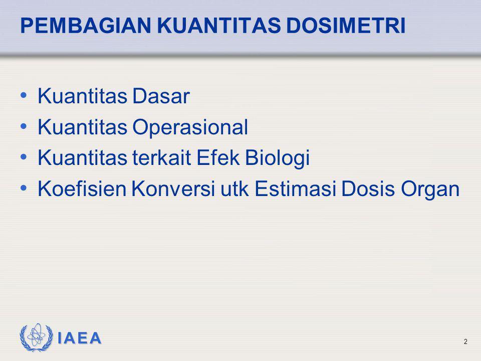 IAEA 2 PEMBAGIAN KUANTITAS DOSIMETRI • Kuantitas Dasar • Kuantitas Operasional • Kuantitas terkait Efek Biologi • Koefisien Konversi utk Estimasi Dosi