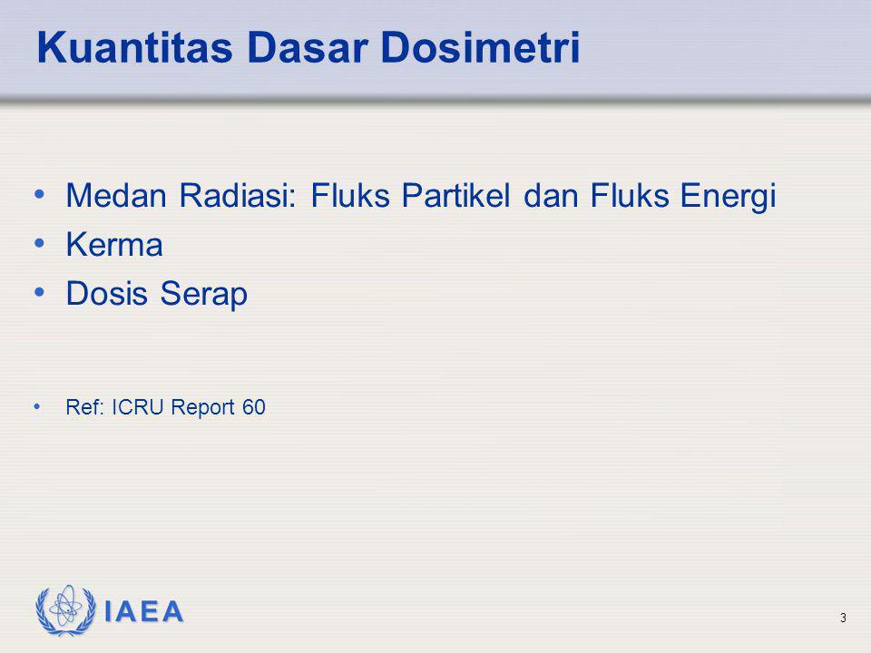 IAEA 3 Kuantitas Dasar Dosimetri • Medan Radiasi: Fluks Partikel dan Fluks Energi • Kerma • Dosis Serap • Ref: ICRU Report 60