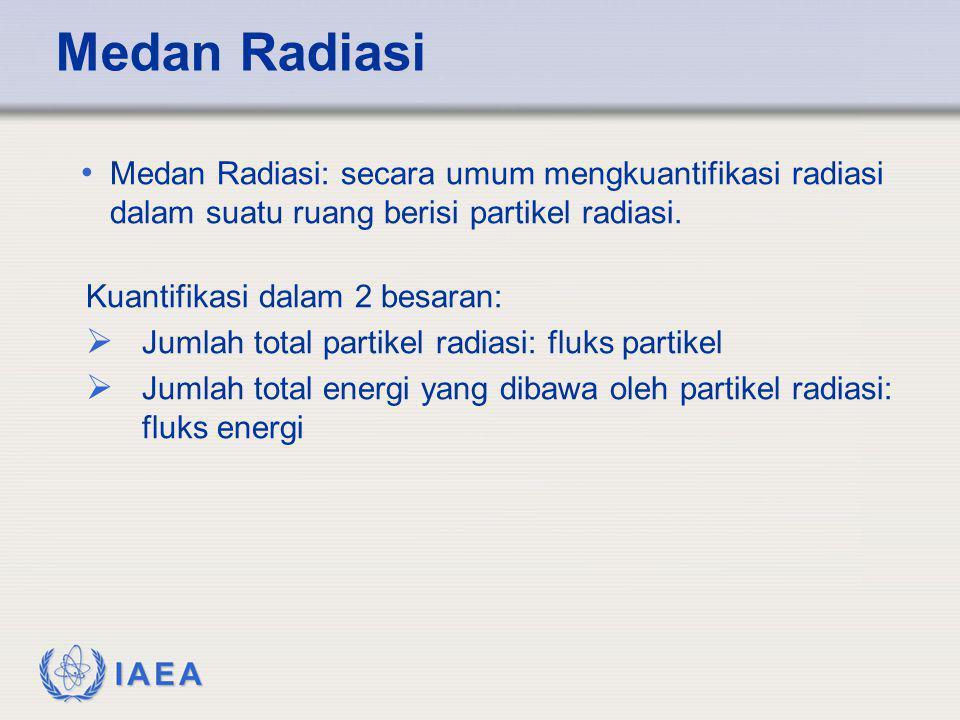 IAEA • Medan Radiasi: secara umum mengkuantifikasi radiasi dalam suatu ruang berisi partikel radiasi. Kuantifikasi dalam 2 besaran:  Jumlah total par