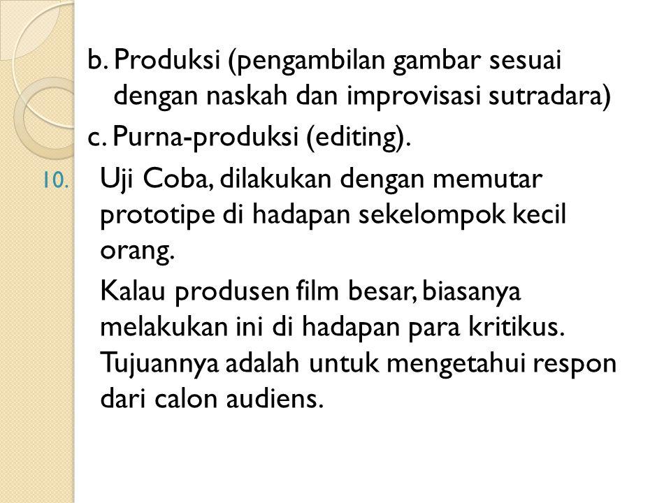 b. Produksi (pengambilan gambar sesuai dengan naskah dan improvisasi sutradara) c. Purna-produksi (editing). 10. Uji Coba, dilakukan dengan memutar pr
