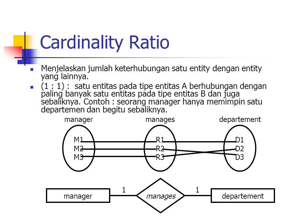 Cardinality Ratio  Menjelaskan jumlah keterhubungan satu entity dengan entity yang lainnya.  (1 : 1) : satu entitas pada tipe entitas A berhubungan