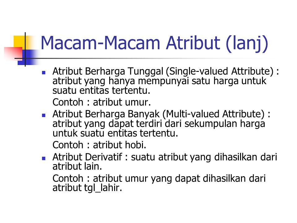 Macam-Macam Atribut (lanj)  Atribut Berharga Tunggal (Single-valued Attribute) : atribut yang hanya mempunyai satu harga untuk suatu entitas tertentu