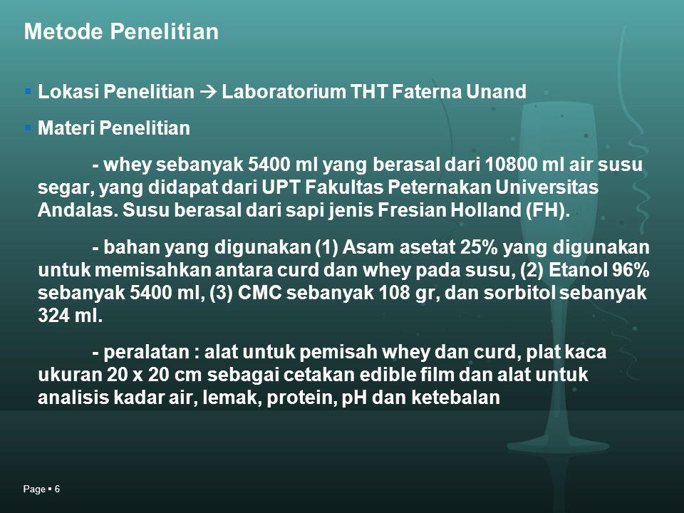 Metode Penelitian  Lokasi Penelitian  Laboratorium THT Faterna Unand  Materi Penelitian - whey sebanyak 5400 ml yang berasal dari 10800 ml air susu