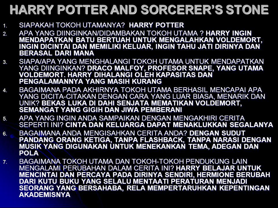 HARRY POTTER AND SORCERER'S STONE 1. SIAPAKAH TOKOH UTAMANYA? HARRY POTTER 2. APA YANG DIINGINKAN/DIDAMBAKAN TOKOH UTAMA ? HARRY INGIN MENDAPATKAN BAT