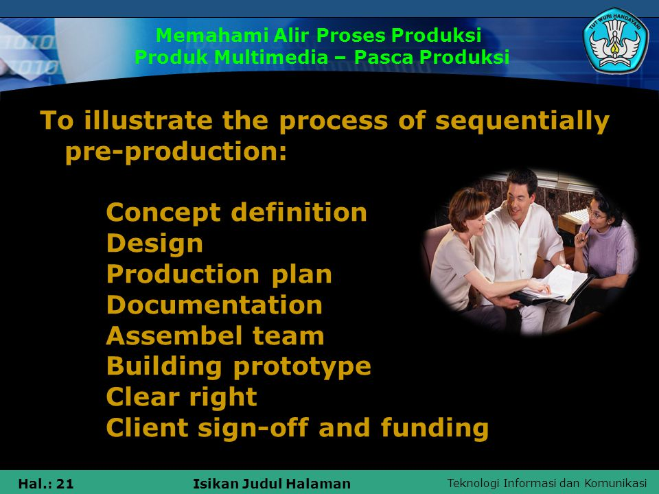 Teknologi Informasi dan Komunikasi Hal.: 21Isikan Judul Halaman To illustrate the process of sequentially pre-production: Concept definition Design Production plan Documentation Assembel team Building prototype Clear right Client sign-off and funding Memahami Alir Proses Produksi Produk Multimedia – Pasca Produksi