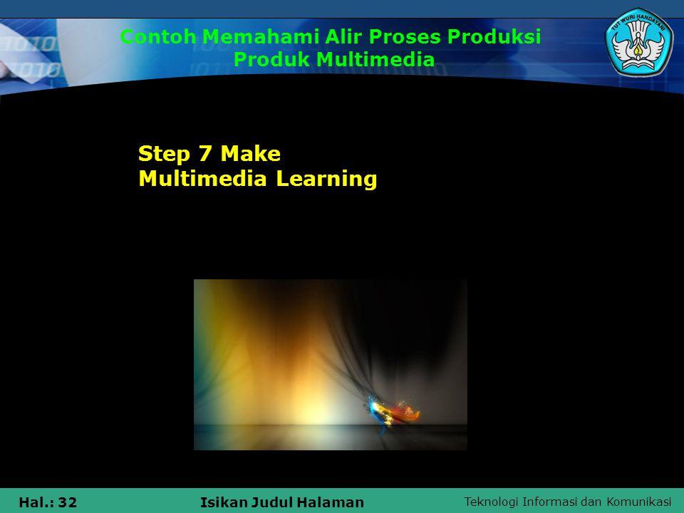 Teknologi Informasi dan Komunikasi Hal.: 33Isikan Judul Halaman Step 1 Analysis and determine the needs of multimedia learning 1.