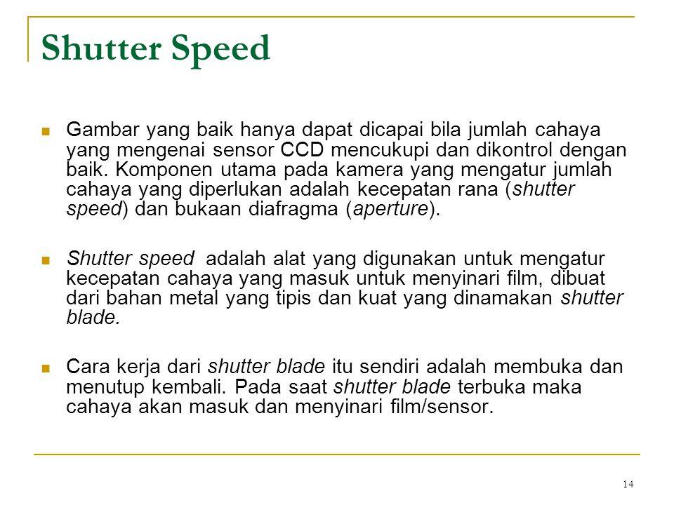 14 Shutter Speed  Gambar yang baik hanya dapat dicapai bila jumlah cahaya yang mengenai sensor CCD mencukupi dan dikontrol dengan baik. Komponen utam