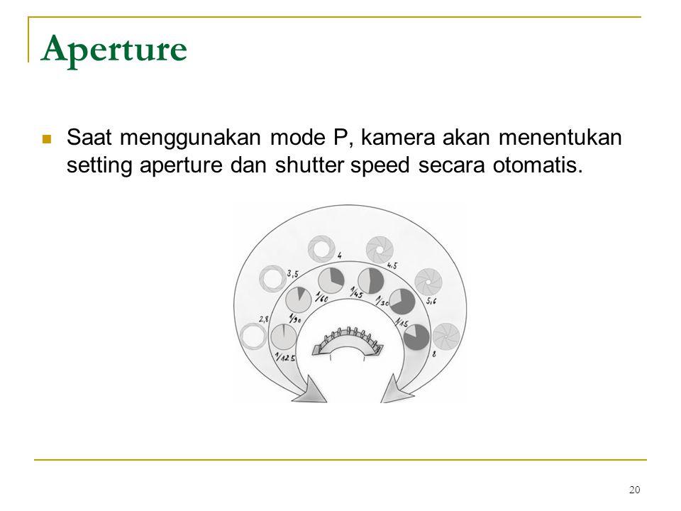 20  Saat menggunakan mode P, kamera akan menentukan setting aperture dan shutter speed secara otomatis. Aperture