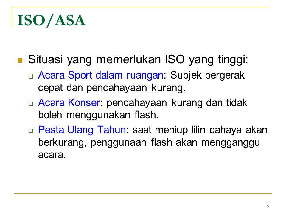 6  Situasi yang memerlukan ISO yang tinggi:  Acara Sport dalam ruangan: Subjek bergerak cepat dan pencahayaan kurang.  Acara Konser: pencahayaan ku
