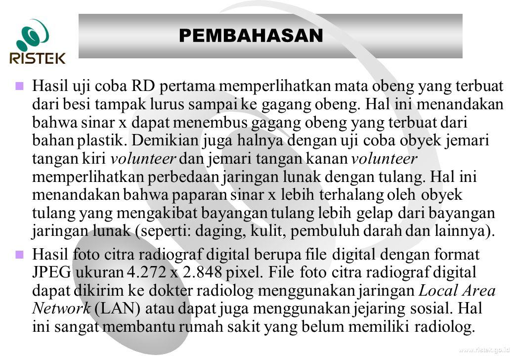 www.ristek.go.id PEMBAHASAN   Hasil uji coba RD pertama memperlihatkan mata obeng yang terbuat dari besi tampak lurus sampai ke gagang obeng. Hal in
