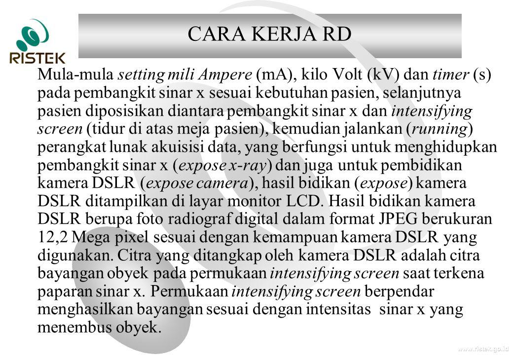 www.ristek.go.id CARA KERJA RD Mula-mula setting mili Ampere (mA), kilo Volt (kV) dan timer (s) pada pembangkit sinar x sesuai kebutuhan pasien, selan