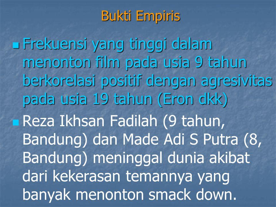 Bukti Empiris  Mar Yunani (9, Yogya) mengalami gegar otak, Nabila Amal (6, Bandung) patah tulang, Yudit Beda Ganang (10, Jakarta) luka kepala dan kemaluan akibat dari kekerasan dari teman yang menonton smack down.
